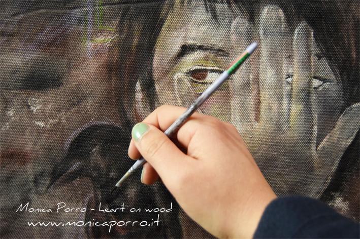 Pensieri come corvi, work in progress - dipinti in valigia