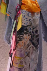Il kimono dipinto con la leggenda di Tanabata